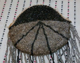 """Antique Beaded Purse, 4"""" Fringe, Missing Frame, Black and Silver Beads 5 1/2"""" x 5"""""""