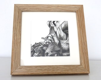 Pineapple leaves original charcoal sketch, fruit drawing, food art, black and white, pineapple drawing, still life, pencil drawing,