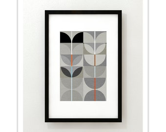NIGHT SWAN no.3 - Abstract Mid Century Modern Design Art Print