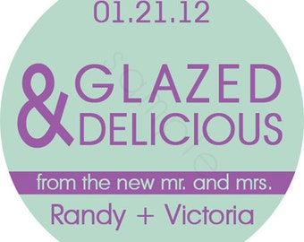 Personalized Wedding Stickers - Glazed and Delicious The New Mr. and Mrs. Personalized Stickers - Donut Wedding Favors - Choice of Size