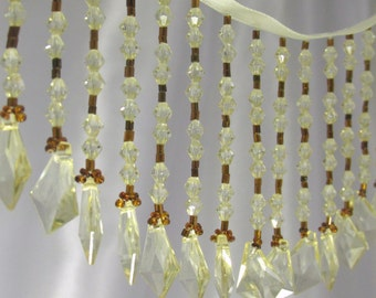 Honey Gold with Diamond Faceted Ends 4 inch Long Straight Beaded Fringe Trim for Craft or Decorator Beaded Trim