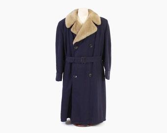 Vintage 40s MEN'S COAT / 1940s Blue Gabardine ALPACA Lined Fur CollarBelted Winter Coat L