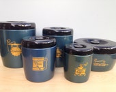 Vintage West Bend Kitchen Canister Set Enamel Blue with Gold Print, Flour, Sugar, Coffee, Cookies, Bakery Bin