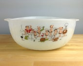 "Anchor Hocking Fire King BC Cartoon Caveman Milk Glass Mixing Bowl, Large BC Bowl with Texture, 9"" Bowl with Grog"