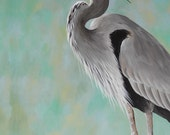 Great Blue Heron painting - shore bird art - beach house decor - made to order 16x20 - custom deposit