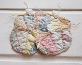 Set of 4 vintage quilt pumpkin gift tags,  fabric coaster set, scrapbook, primitive quilt, autumn fall decor, gift wrapping, mini mug rug