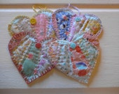 Reserved Sweet set of 4 heart shape vintage quilt fabric gift tags, coaster set, ornaments, scrapbook embellishment, gift wrapping