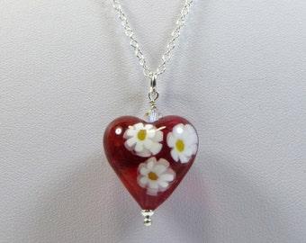 Murano Venetian Necklace, Cranberry Millefiore Heart Necklace, Millefiore Murano Venetian Flowers Necklace w Swarovski & 925 Sterling Silver