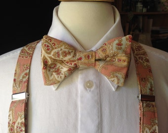 Paisley Bow Tie And Suspender Set / Mens Bow Ties And Suspenders / Peach Red Mint And Cream Bow Tie / Rustic Fall Wedding / Paisley Bow Ties
