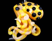 Yellow and Black  Octopus Necklace hand sculpted Modern Ocean Jewelry