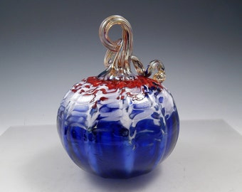 "NW Hand-blown glass ""Patriotic"" Pumpkin"