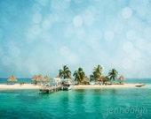 tropical decor - island art - caribbean sea photography - palm tree print