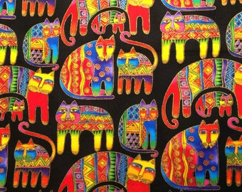 Fabric Laurel Burch Fanciful Felines Gilded Cats Black Hard to Find Out of Print 100% Cotton Fat Quarter FQ Eustheelf #2 16