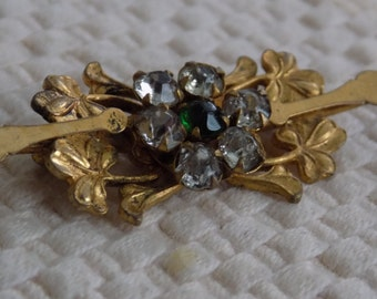 Antique 1800's Victorian trefoil clover and crystal gold filled brooch, collectible jewelry
