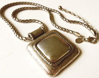 "Chico's Square Pendant Necklace Vintage 18"" Silver Tone"