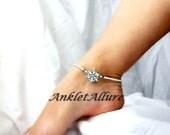 Bridal Shower Gift Anklet Rhinestone Anklet Flower Ankle Bracelet  Ankle Bracelet Honeymoon Garter Ceremony Anklet Rhinestone Body Jewerly