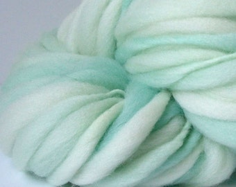 Handspun Chunky Yarn, Hand Painted Yarn, Thick and Thin Yarn, photo prop, baby bump blanket yarn,  doll hair  50 yards Seafoam