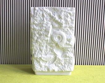 Op Art Fossil White Matte Porcelain Vase By Kaiser