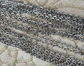 12 ft Gunmetal plated 3x4mm Iron Flat Oval Chain Cable Flat Oval, Flat Oval Chain Necklace findings, chain jewelry findings
