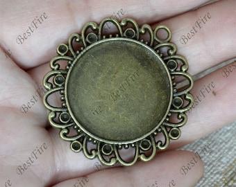 5pcs Antique bronze flower round Cabochon pendant tray (Cabochon size 25mm),bezel charm findings,lacework findings,cabochon blank finding