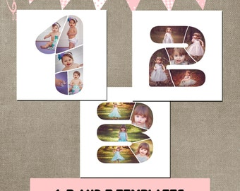 number 1 2 3 birthday template collage photographer fully layered first second third birthday psd cakesmash INSTANT DOWNLOAD CS or Elements