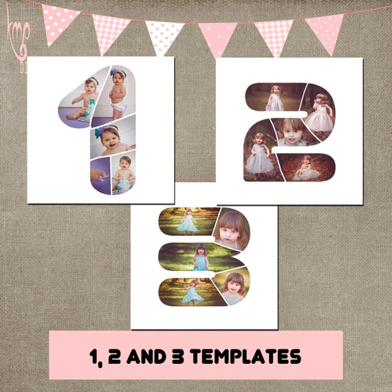 Number 1 2 3 birthday template collage photographer fully for Photo collage number templates
