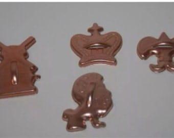 Copper Cookie Cutters Windmill Lion Dutch Crown