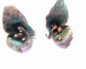 On Hold for Sandee Copper Verdigris Underwater Garden Earrings