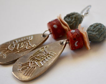 Tribal Metal Earrings Bird Symbol Metal Clay Art Bead Dyed Bone Inlay Bead Mala Beads and Sterling Silver Earrings