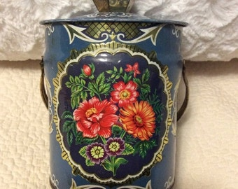 AUTUMN SALE Vintage Floral Tin Container Navy Blue with Knob and Handle England 1960s