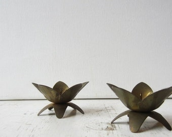 ON SALE Pair Vintage Brass Lotus Flower Candle Holders - West Germany - Mall
