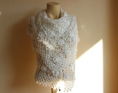 White off Bridal Shawl / Wedding Wrap Shrug  Cape /Hand Crochet Metallic Vegan Scarf