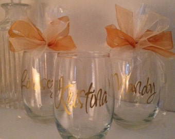 Personalized Wine Glasses, Bridesmaid Wine Glass, Sorority Sisters Glasses, Friends- Girls Night Out Party Wine Glasses GIFT WRAPPED