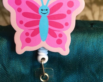 Pink Butterfly Lanyard - name badge holder