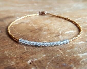 Blue Topaz Bracelet Blue Topaz Bracelets December Birthstone Bracelet Gold Vermeil Beaded Gemstone Bead Bracelet Womens Gift Gifts for Her
