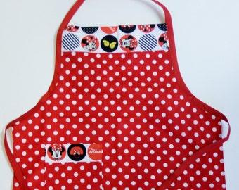 Minnie Mouse Children's Butcher Apron :  Apron, Red Apron, Childs Apron, Small Apron, Kids Apron