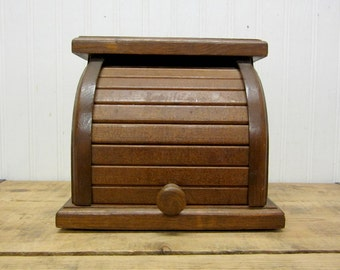 Vintage Wood Roll Top Rolltop Recipe Card Box Kitchen Storage