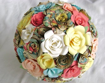 The Lindsey comic book bouquet with pastels alternative paper flower bridal bouquet book page centerpiece