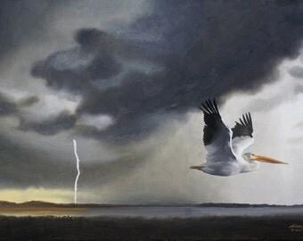 White Pelican wildlife bird 24x36 (61 x 91.4 cm) oils on canvas by RUSTY RUST / P-70