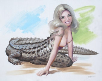 alligator PINUP girl painting by RUSTY RUST 24x30 oils on canvas / 1550