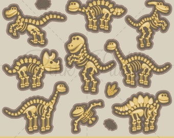 Dinosaur Clipart, Dinosaur Clip Art, Dinosaur Bones Clipart Clip Art, Dinosaur Fossils - Commercial and Personal