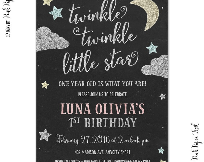 Twinkle Twinkle Little Star Invitation, Gender Reveal, Baby Shower, Birthday, Chalkboard, I will customize for you, Print Your Own