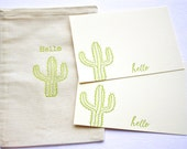 Hello Letterpress Cactus Cards with Muslin Sack Golden Green