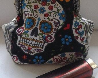 Fun, novelty, Roses, Grinning Sugar Skulls on black, Halloween coin purse, Gothic, UK