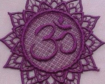 UK lace OM, Aum applique, trimming, hanging, card topper,  decoration