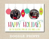 "Custom Photo Christmas Cards - Hanging Ornaments Printable Holiday Card - Personalized Photo Christmas Card Design - Size 5x7"" 4x6"""