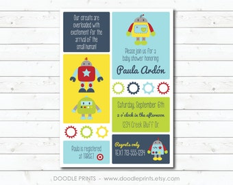 "Robot Invitation, Printable Baby Shower Invitation, Robot Baby Shower, Nuts and Bolts, Robot Birthday Party Invitation - 5x7"" 4x6"""