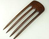 Prong Hair Fork - Exotic Burmese Blackwood - Handmade - 4 Prong Hair Fork