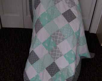 FREE SHIPPING, Baby Boy Quilt, Green and Gray, Hand Quilted
