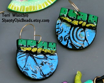 Funky Polymer Clay Earrings - in chalk greens, blues, and yellows